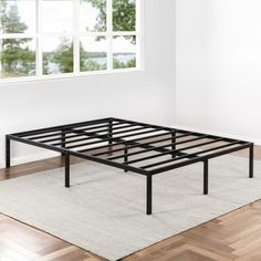 Chic Yadira Heavy Duty Bed Frame by Alwyn Home top rated furniture sale from top store Metal Platform Bed, Upholstered Platform Bed, Platform Beds, Steel Bed Frame, Lesage, Panel Headboard, Bookcase Headboard, Under Bed Storage, Adjustable Beds