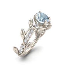 Leaf Engagement Ring, White Gold 14k, Aquamarine Engagement ring,Nature inspired Diamond Leaf ring,Leaf Gold ring, 1244