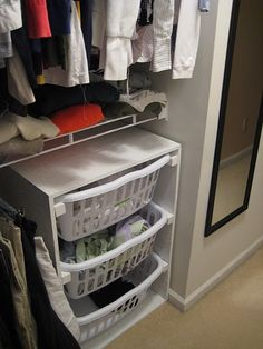 This is a fantastic DIY idea! Create a three drawer laundry hamper system. I would also add labels to these: Whites, Colors & Dry Clean.