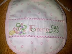 Cross stitch bib Baby Bibs, Cross Stitching, Butterfly Cross Stitch, Embroidery Stitches, Baby Things, Little Girl Clothing, Girl Names, Blue Nails, Cross Stitch