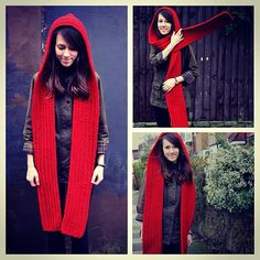 SALE Red Hooded Scarf Crochet Hooded Scarf Long Scarf by zukas