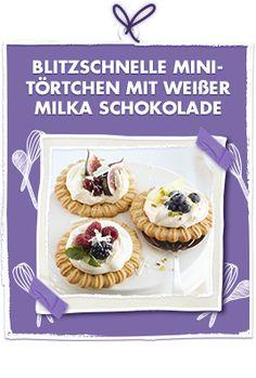 Blitzschnelle Mini-Törtchen mit weißer Milka Schokolade