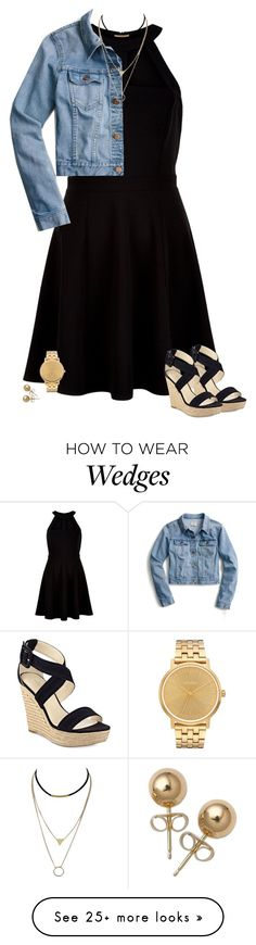 """Gold and Black"" by kc-cupcake-lover on Polyvore featuring New Look, Marc Fisher, J.Crew, Bling Jewelry and Nixon"