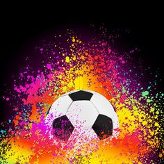 Vector of 'Colorful abstract background with a soccer ball. EPS 8 vector file included'