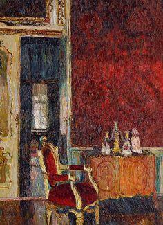 The Red Salon   -  August Von Brandis   German  1862-1947  Oil on canvas, 81 x 60 cm,