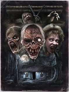 """Horror Movie Art : """"Evil Dead II"""" by Christopher Lovell Horror Icons, Horror Movie Posters, Movie Poster Art, Horror Films, Evil Dead Movies, Terror Movies, Scary Movies, Ghost Movies, Crane"""
