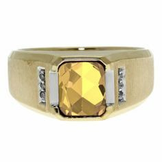 Diamond and Emerald Cut Citrine Gemstone Men's Ring In Yellow Gold Gemologica.com offers a unique selection of mens gemstone and birthstone rings crafted in sterling silver and 10K, 14K and 18K yellow, white and rose gold. We have cool styles including wedding and engagement rings, fashion rings, designer rings, simple stone and promise rings. Our complete jewelry collection of gemstone rings for men can be seen here: www.gemologica.com/mens-gemstone-rings-c-28_46_64.html