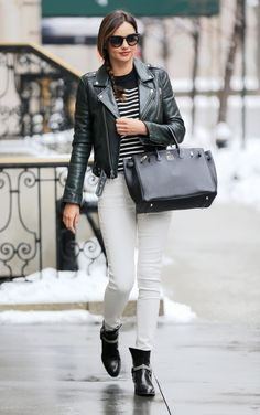 Miranda Kerr : Hermes Birkin, White jeans and leather jacket