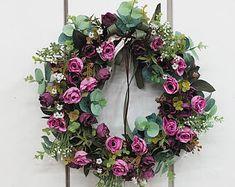 Artificial Rose wreaths / Wreaths for Front Door / Flower Wreath / Wedding Wreath / Home Decor Wreaths / Beautiful Wreath for Door