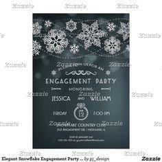 Elegant Snowflake Engagement Party Invitation II