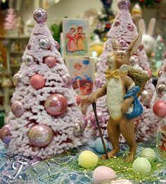 The Bethany Lowe Traveler Rabbit amongst the fluffy pink trees!