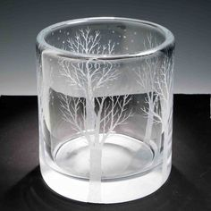 """Crystal Glass Ice Bucket """"Winter Solitude"""" hand engraved by Ray Lapsys"""
