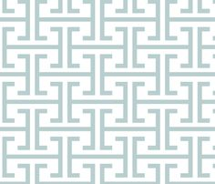 Seafoam Fret Work  fabric by fable_design on Spoonflower - custom fabric - cushion for bench or pillows?