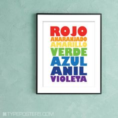 """What an adorable Spanish fun color chart. Only I've never in my many bilingual years heard the word """"anil"""" ever."""