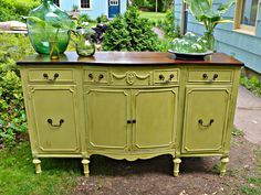 Heir and Space: An Antique Sideboard in Bright Summer Green