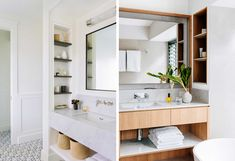 Why Designers Hate Most Medicine Cabinets (+ Some Genius Alternative Bathroom Storage Solutions) - Emily Henderson Bathroom Storage Solutions, Small Bathroom Storage, Bathroom Kids, Bathroom Renos, Master Bathroom, Master Shower, Bathroom Inspo, Bathroom Shelves, Bathroom Cabinets