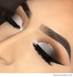 Matte grey and black eye makeup