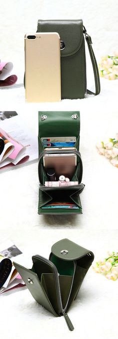 Love the grey! $17.89 Vintage PU Leather Universal 6inch Shoulder Phone Bag For iPhone Samsung Huawei Xiaomi