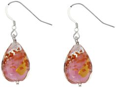 Amanti Venezia Genuine Murano Drop Earrings with  Silver and Gold Foil and Sparkling Aventurine
