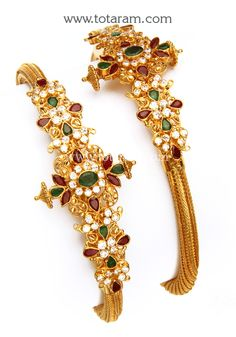 22 Karat Gold Kada with Cz , Ruby & Emerald - Set of 2 Pair) Width at the Center of the Kada : mm Gold Bangles Design, Gold Jewellery Design, Gold Jewelry, Massage For Headache, Emerald, Pairs, Brooch, India, Jewels