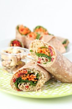 Quinoa Veggie Wraps Vegan - We love how colorful these easy-to-make veggie wraps are! Healthy and delicious, these quinoa & hummus wraps are perfect for lunch or dinner. Good Healthy Recipes, Lunch Recipes, Healthy Snacks, Vegetarian Recipes, Healthy Eating, Cooking Recipes, Healthy Hummus, Vegetarian Sandwiches, Healthy Fruits