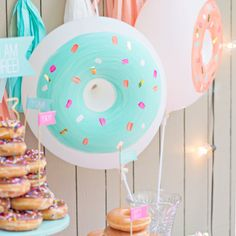 These donut (or is it doughnut?) balloons are a deliciously fun addition to any party! They come in multiple colors for even more donut fun. Donut Birthday Parties, Baby Birthday, Birthday Party Themes, Birthday Ideas, Third Birthday, Diy Donut, Grown Up Parties, Donut Decorations, Balloons And More
