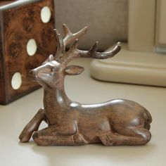 Small wooden stag deer reindeer figure statue ornament decoration home accessory