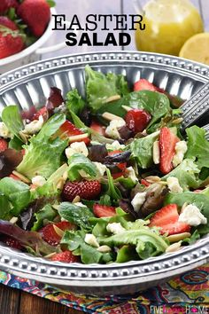 Easter Salad — Strawberry Goat Cheese Salad with Toasted Almonds & Lemon Honey Vinaigrette — is a beautiful, delicious addition to any spring or summer meal! Green Salad Recipes, Salad Recipes Video, Healthy Salad Recipes, Easter Salad, Easter Lunch, Easter Dinner Recipes, Main Dish Salads, Goat Cheese Salad, Spring Salad