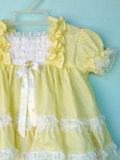 Vintage Sunny Yellow  Infant Easter Dress and by StarrChildVintage