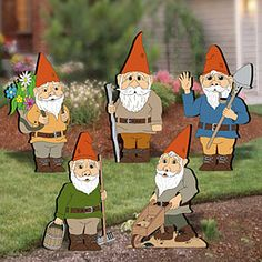 """Garden Gnomes II Pattern  Everyone loves gnomes! Display these adorable hard working guys in your front yard or garden and watch them work! 5 Designs! Up to 20"""" Tall.   Pattern #2042  $10.95    ( crafting, crafts, woodcraft, pattern, woodworking )  Pattern by Sherwood Creations"""