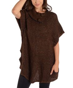 Look at this Brown Cape-Sleeve Sweater on #zulily today!