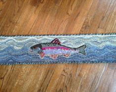 """Rainbow Trout Rug Hooking/Punch Needle Pattern (appr.36"""" x 7.25"""")"""