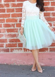 28 Chic Spring Bridal Shower Outfits To Get Inspired: a lace top, a full tulle bloom skirt in mint green, a sequin clutch and neutral pumps