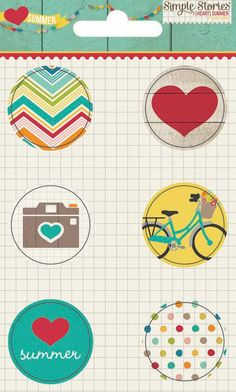 I Heart Summer Flair Badges from Simple Stories ... Now available at Scrap-a-Doodle-Doo