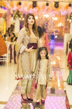 and baby muslim (notitle) Pakistani Fashion Party Wear, Pakistani Dresses Casual, Indian Gowns Dresses, Pakistani Wedding Outfits, Shadi Dresses, Wedding Dresses For Kids, Stylish Dresses For Girls, Dresses Kids Girl, Mom Daughter Matching Dresses