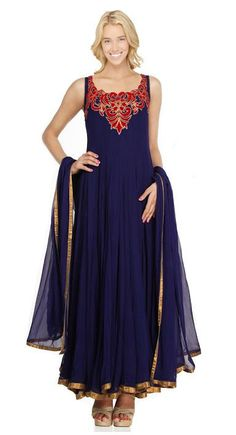 Sleeveless Anarkali Suit with Red Embroidered on Bodice in Navy Blue – USMART NY