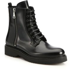 Prada Spazzolato Combat Boots ($775) ❤ liked on Polyvore featuring shoes, boots, ankle booties, black, sapatos, apparel & accessories, leather booties, platform booties, black ankle booties and lace up platform booties