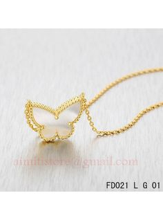Van Cleef Arpels Yellow Gold Lucky Alhambra Butterfly Necklace White Mother-of-Pearl