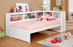 Furniture of America Frankie Inch Full Size Daybed with Bookcase Headboard, Corner Design and Solid Pine Construction in White Trundle Bed With Storage, Daybed With Trundle, Bed Storage, Safe Bunk Beds, Kid Beds, Kids Daybed, Platform Daybed, Full Size Daybed, Kids Toddler Bed