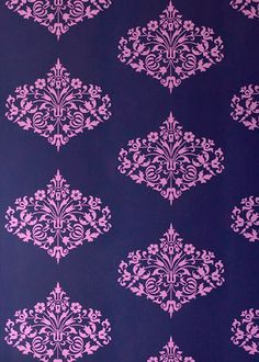 great color combo.Navy and violet. Wallpaper to use in so many different decorating ideas