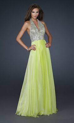 yellow sequins v neck long prom gowns