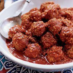 Lamb Meatballs in Tomato Sauce Recipe | MyRecipes.com  Pair with Chianti and Italian style antipasto