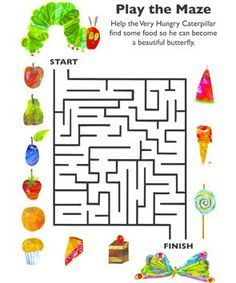 Eric Carle activity sheet: help the Very Hungry Caterpillar make his way through the maze so he can become a butterfly. Eric Carle, Very Hungry Caterpillar Printables, Hungry Caterpillar Craft, Spring Activities, Book Activities, Bugs And Insects, Book Projects, Book Crafts, Math Sheets