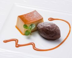 Creme Caramel with Homemade Chocolate Sorbet