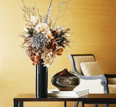 Materials List  Cylinder Vase, Tall- Black  Ashland™ Flowers- Zebra Print, Leopard Print and Ivory Hydrangeas  Feather Pick  Feathers- Zebra Print  Plastic Branches- Copper and Silver  Floral Foam  Spanish Moss  Wire Cutters