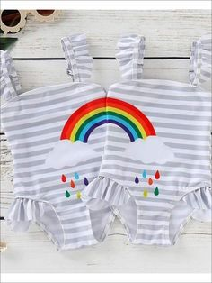 Rainbows always seem brighter when you are with your bestie! Grab your 'lil lady and her bestie this adorable striped #rainbow one piece #swimsuit. This will be the perfect gift for two best friends. Shop now! Rainbow Swimsuit, Two Best Friends, Grey Stripes, One Piece Swimsuit, Besties, Swimsuits, Rainbows, Fulfillment Center, Girls