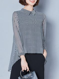 Casual Stripe Irregular Lapel Long Sleeve Blouses For Women Cheap - NewChic Source by rexdeals casual Cheap Womens Tops, Casual Tops For Women, Blouses For Women, Fancy Tops, Designs For Dresses, Mode Hijab, Long Blouse, Latest Dress, Blouse Designs
