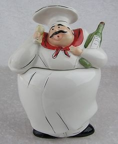 $45.00 WCL Ceramic Kitchen Decor-Italian Fat Chef with Wine Glass & Bottle Cookie Jar