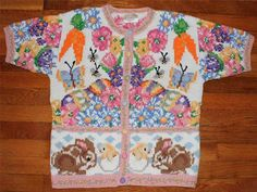 Susan Bristol Pastel Spring Bunny Rabbit Easter Cotton Cardigan Sweater M | eBay $24.50