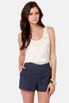 Cute Navy Blue Shorts - Linen Shorts - High-Waisted Shorts